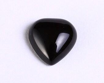 4 black agate heart gemstone cabochons 10mm 4pc (1015)