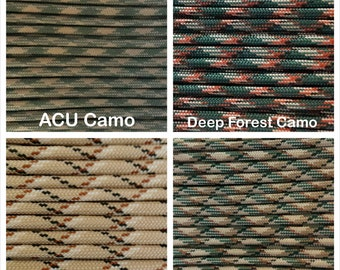 Paracord 550 Mil Spec Type III 7 strand Camo Patterns Bracelet Necklace Survivor Parachute Cord 1-1000' lengths