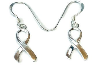 sterling silver awareness ribbon charm earrings