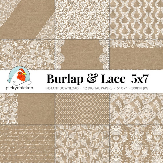 burlap lace digital paper 5x7 burlap lace rustic wedding. Black Bedroom Furniture Sets. Home Design Ideas