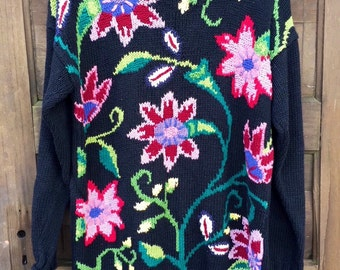 Vintage 90's Woman's Oversized Black Floral Sweater by Jennifer and Co