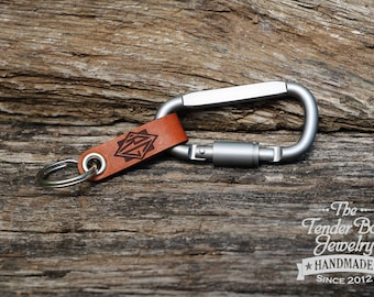 Leather Key ring Custom Personalized Leather Key chain Custom Leather Key ring Monogram Leather Carabiner Fob Option
