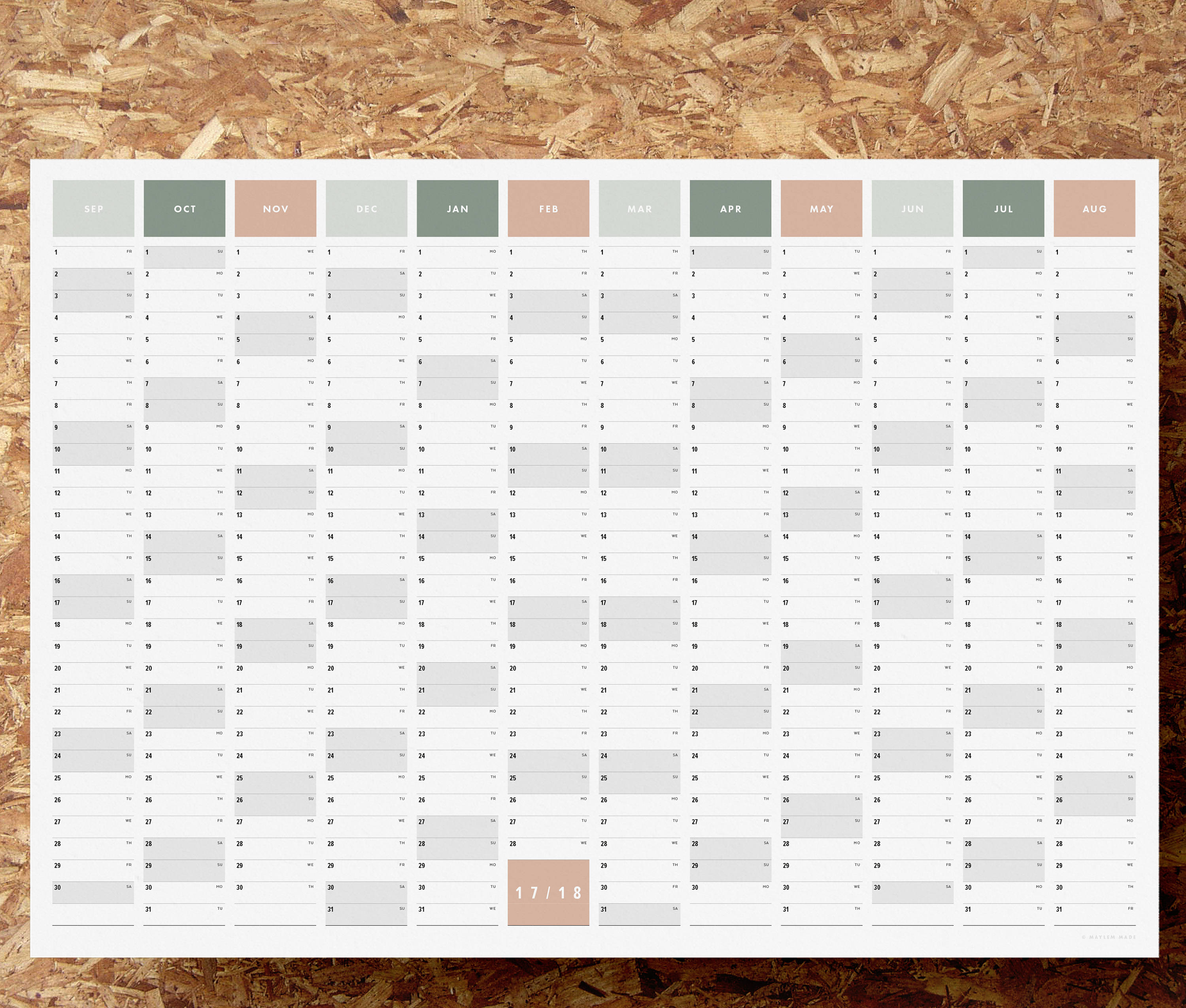 Printable PDF A2 Academic Year Wall Planner 2017 2018 Year Planner
