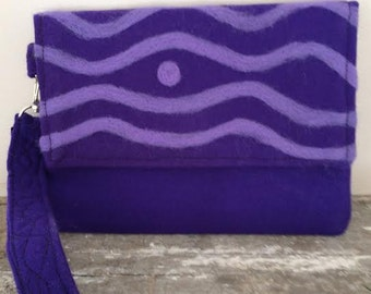 Purple Felted Clutch Handmade Wavy Line Design