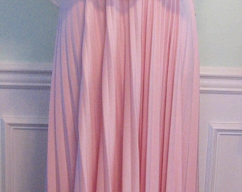1970s Dress Sun Dress Summer Disco Sun Dress With Cape Pink Pleats Bodice Ruched Accordian