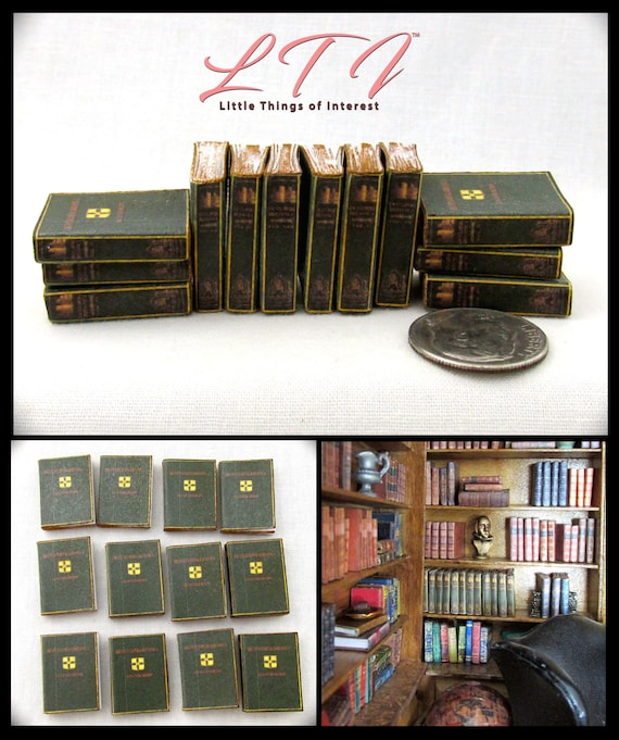 12 ENCYCLOPEDIA BOOKS Miniature Dollhouse 1:12 Scale Books Fill Bookshelf Prop Library Set Faux Books Paper Pages Reference Knowledge