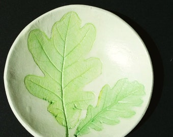 clay bowl Jewellery bowl oak green stencil ring dish
