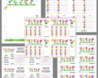 Tulips Bunco Printable Set, Bunco Score Cards & Tally Sheet, Instant Download, Editable Bunco Invites