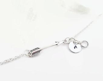 Silver arrow bracelet - arrow jewelry - personalized arrow bracelet - bridesmaid gift - Initial bracelet - Bridal gift idea - dainty arrow