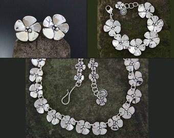 Sterling Silver Jewelry Set - Dogwood Jewelry - Flower Earrings - Floral Bracelet - Dogwood Flower Set - Silver Necklace - Flower Necklace