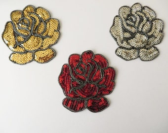 """10cm / 4"""" Embroidered sequin flower applique patch, gold silver or red, iron-on"""