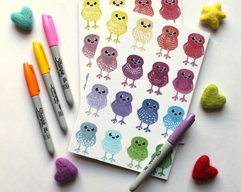 A5 Notebook, Rainbow Doodle Bird Notebook, Plain Notebook Lined Notebook