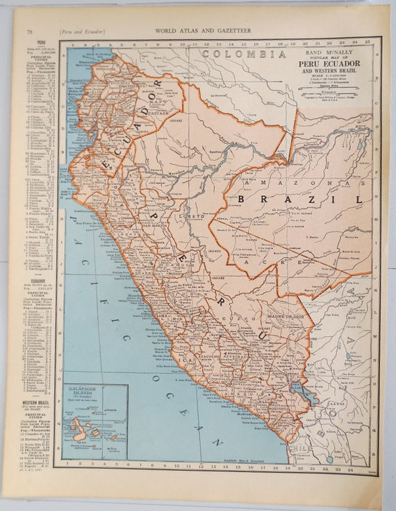 Vintage map of peru and ecuador vintage map of columbia on gumiabroncs Gallery
