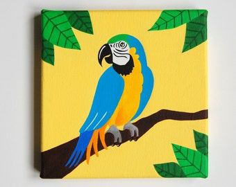 "Original Parrot painting, Tropical Bird Nursery, Parrot Art, Tropical decor, Bird art, Blue & Yellow Macaw, Rainforest decor, 8"" x 8"" canvas"