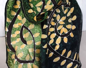 Leaves and Spirals on Forest Green - Hand Painted Silk Scarf - wearable art - medium scarf 11x60 inches