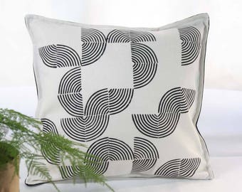 Ecru and black hand-stamped cushion cover -Designer decorative pillow -Geometric pattern hand-printed-Natural and black