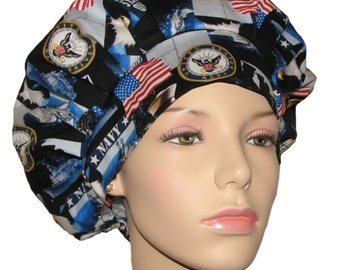 Bouffant Scrub Hats-ScrubHeads-Scrub Hats For Women-Scrub Caps-Surgical Hat-Military Scrub Hat-Navy Scrub Hat