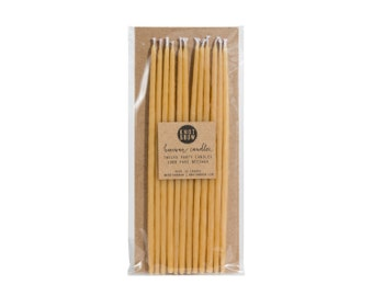 Tall Hand-dipped Beeswax Birthday Candles / Natural