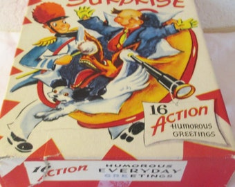 Vintage 1950s box of 9  unused Surprise Action Cards Humorous All Occasion Greeting Cards in Original  Box