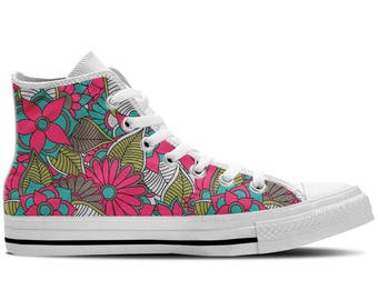 Floral shoes etsy floral shoes womens high top sneaker with pretty flowers design mightylinksfo