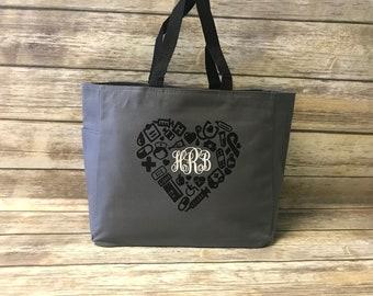 Nursing tote, RN, LPN,  Registered Nurse bag, Nurse bookbag, Nursing Gift, medical bag,