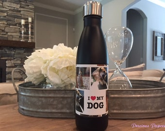 Personalized pet photo insulated steel mug or water bottle in black or white  You add photo and  pet caption dog photo cup