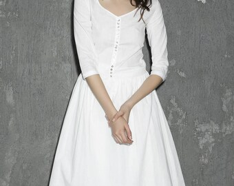 white linen dress, wedding dress, womens dresses, prom dress, elbow length sleeves, midi dress, V neck dress, handmade dress 1306