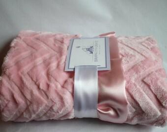 Minky Cuddle Zig Zag Solid Pink Chevron Baby Blanket - Baby Shower, Girl - Newborn, Infant, Toddler, Crib bedding