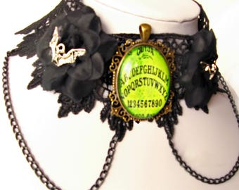 Ouija Board Necklace - Ouija Pendant - Occult Necklace - Spirit Board - Black Lace Choker - Witchy Choker - Black Collar - Silver Bat Charms