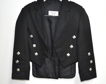 SALE: Boys Kilt Jacket, 5-6yrs Black Prince Charlie Jacket. 26in chest. Vintage 100% Wool.