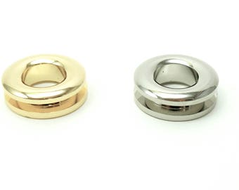"""4 PCS of 22 mm (6/7"""") outer diameter (11 mm inner  diameter) silver or gold metal purse/bag/tote screw-in grommets/eyelets"""