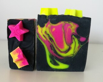 Neon soap, cold process soap, large soap bar, bar soap, handcrafted soap, pink and yellow, star soap, Australian made gifts, valentines gift