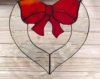 "Bow, Heart, Bevel Cluster Stained Glass Sun-catcher, 8"" X 7.5"", Hand Crafted, Made in the USA"