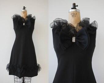 vintage 1960s dress / 60s little black dress / vintage LBD / 60s ruffle dress / 60s cocktail dress / 60s party dress / small medium 26W