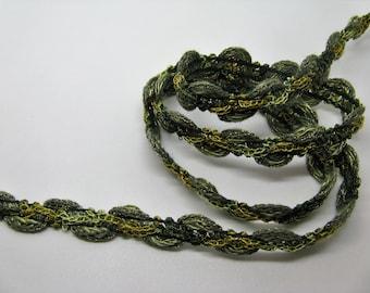 Braid fancy Green Khaki width 1.5 cm - ref 31