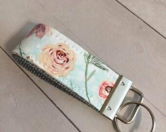 Mini Key Fob, Floral Mini Key Fob, Boho Chic Floral Mini Key Fob, Mini Wristlet