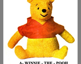 PDF: Vintage McCall's Winnie The Pooh Fabric material Sewing Pattern PDF Delivery Instant Download