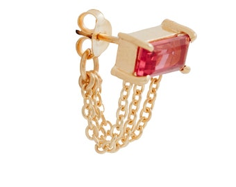 Vessel Chain Detail Earring with Pink Tourmaline