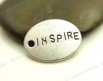 6 Inspire Message Charms Antique Silver Tone Metal - 24x18mm - Tag Charms, Word Charms - BF15