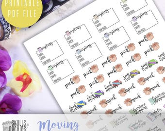 Functional Phrases for Moving – PRINTABLE Planner Stickers for Erin Condren, Happy Planner, Personal-Sized Planners, etc