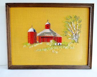 Crewel Embroidery Barn Silo Vintage Framed Finished