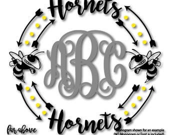 Team Hornets Monogram Wreath Arrows Dots (monogram NOT included - SVG, EPS, dxf, png, jpg digital cut file for Silhouette or Cricut