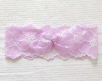 Blush garter, purple garter, lavender wedding garter belt, bridal accessory - style #521