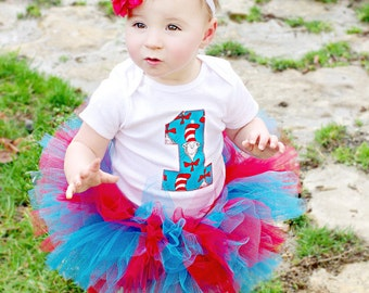 Cat In The Hat Dr. Seuss Inspired Custom Birthday Number Shirt or Bodysuit And Tutu Set