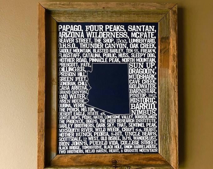 Beers of Arizona Word Map (Dark Blue) - Unframed