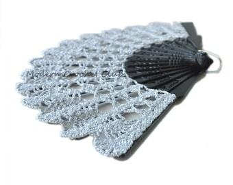 Silver Lace Fan for a Mother's Day Gift- Hand Held Fan- Handmade Lace Hand Fan- Halloween Costume- Folding Hand Fan- Victorian Wedding Fan