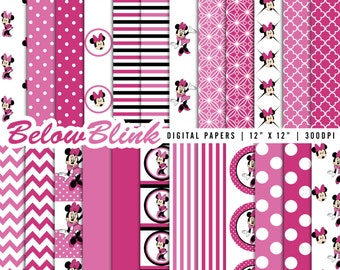 Minnie Mouse Digital Paper Pack, Scrapbooking Papers, 24 jpg files 12 x 12 - Instant Download - DP294