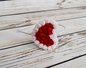 Handcrafted Red and White Romantic Heart Headband - Adult Headband - Vintage Style Hair Accessory - Cottage Chic Bows - Red Tween Headband