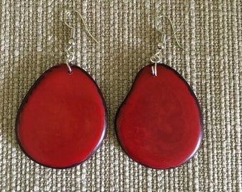Red Tagua Nut Earrings / Tagua Nut Jewelry / Organic Jewelry
