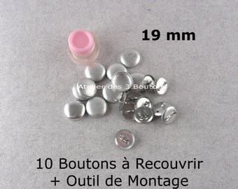 """10 Cover Buttons 3/4"""" (Size 30) with assembly tool"""